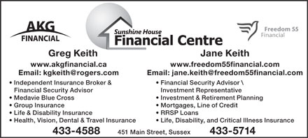 Sunshine House Financial Centre (506-433-4588) - Display Ad