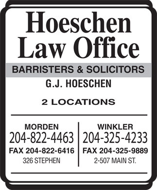 Hoeschen Law Office (204-822-4463) - Display Ad
