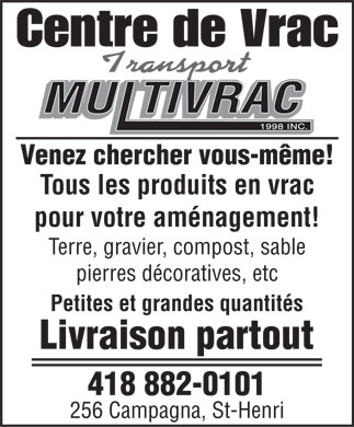 Centre de Vrac - Transport Multivrac 1998 inc (418-882-0101) - Display Ad