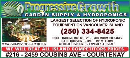 Progressive Growth Garden Supply (Nanaimo) Ltd (250-334-8425) - Annonce illustrée