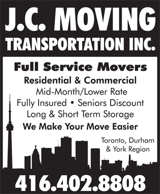 J C Moving Transportation Service Inc (416-402-8808) - Annonce illustrée