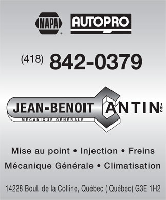 Jean-Benoit Cantin Inc. (418-842-0379) - Annonce illustrée - (418) 842-0379 Mise au point   Injection   Freins Mcanique Gnrale   Climatisation 14228 Boul. de la Colline, Qubec ( Qubec) G3E 1H2  (418) 842-0379 Mise au point   Injection   Freins Mcanique Gnrale   Climatisation 14228 Boul. de la Colline, Qubec ( Qubec) G3E 1H2  (418) 842-0379 Mise au point   Injection   Freins Mcanique Gnrale   Climatisation 14228 Boul. de la Colline, Qubec ( Qubec) G3E 1H2  (418) 842-0379 Mise au point   Injection   Freins Mcanique Gnrale   Climatisation 14228 Boul. de la Colline, Qubec ( Qubec) G3E 1H2