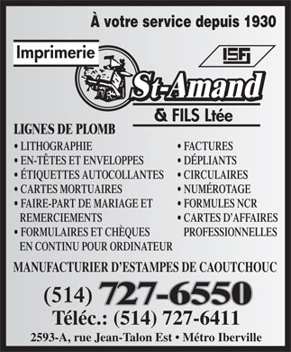 Imprimerie St Amand &amp; Fils Lt&eacute;e (514-727-6550) - Annonce illustr&eacute;e