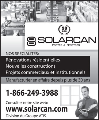 Solarcan Portes &amp; Fenetres (1-866-249-3988) - Annonce illustr&eacute;e