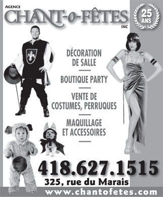 Agence Chant-O-F&ecirc;tes Inc (418-627-1515) - Display Ad