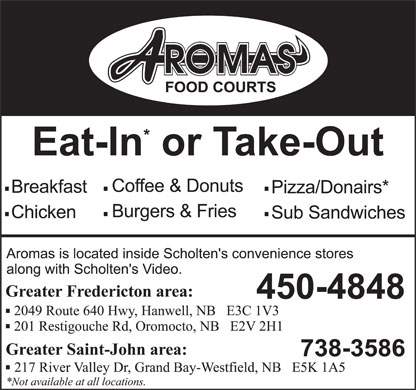 Aromas Food Courts (506-450-4848) - Display Ad