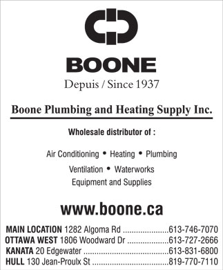 Boone Plumbing & Heating Supply Inc (613-746-7070) - Annonce illustrée