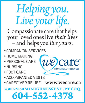 We Care Home Health Services (604-552-4378) - Annonce illustrée
