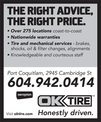 OK Tire (Port Coquitlam) (604-942-0414) - Annonce illustr&eacute;e