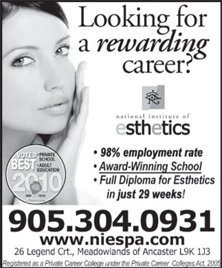 National Institute Of Esthetics (905-304-0931) - Display Ad