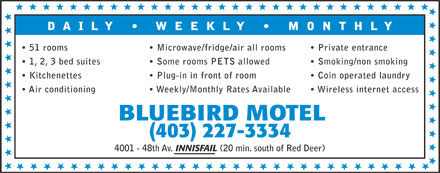 Bluebird Motel (403-227-3334) - Display Ad