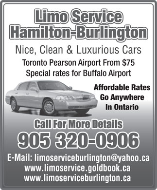 Limo Service Hamilton-Burlington (905-320-0906) - Display Ad