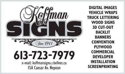 Koffman Signs (613-723-7979) - Annonce illustr&eacute;e