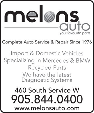 Melons Auto (905-844-0400) - Display Ad