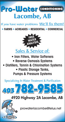 Pro Water Conditioning (403-782-9585) - Display Ad