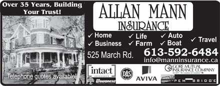 Allan Mann Insurance (613-604-0840) - Annonce illustrée - Farm Over 35 Years, Building Your Trust! Over 35 Years, Building Your Trust! Farm Over 35 Years, Building Over 35 Years, Building Your Trust! Farm Your Trust! Farm