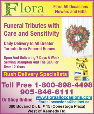 All Flora Occasions Florist & Flower Shop (905-846-6111) - Display Ad