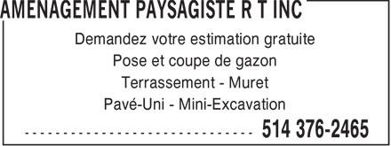 Aménagement Paysagiste R T Inc (514-376-2465) - Annonce illustrée======= -