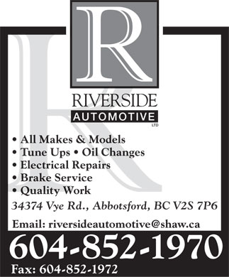 Riverside Automotive Ltd (604-852-1970) - Display Ad