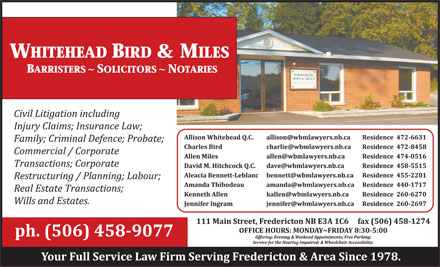 Whitehead Bird & Miles (506-458-9077) - Display Ad