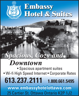 Embassy Hotel & Suites (613-909-2234) - Display Ad