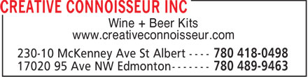 Creative Connoisseur Inc (780-489-9463) - Display Ad - Wine + Beer Kits www.creativeconnoisseur.com