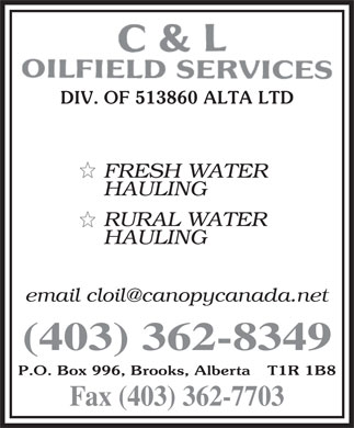 C &amp; L Oilfield Services (403-362-8349) - Display Ad