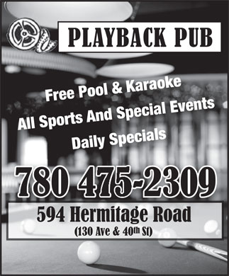 Play Back Pub (780-475-2309) - Display Ad