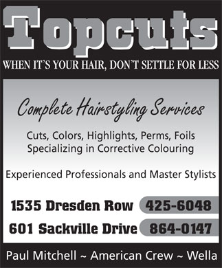 Topcuts Salons (902-425-6048) - Display Ad