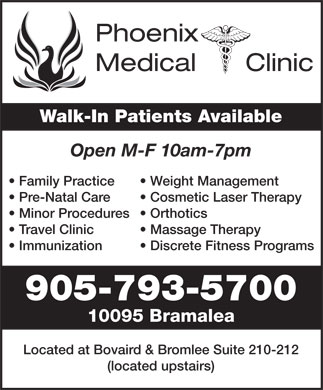Phoenix Medical Clinic (905-793-5700) - Annonce illustrée