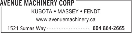 Avenue Machinery (604-864-2665) - Annonce illustrée - KUBOTA   MASSEY   FENDT www.avenuemachinery.ca