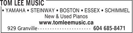 Tom Lee Music (604-685-8471) - Annonce illustrée======= - YAMAHA   STEINWAY   BOSTON   ESSEX   SCHIMMEL New & Used Pianos www.tomleemusic.ca - PIANO - NEW - STEINWAY - YAMAHA