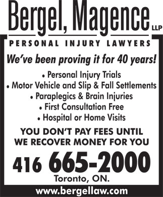 Bergel Magence (416-665-2000) - Display Ad