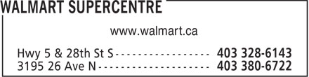 Walmart Supercentre (403-328-6143) - Display Ad - www.walmart.ca