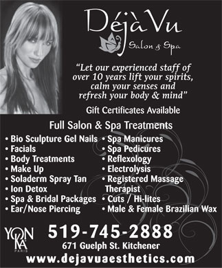 Deja Vu Salon And Spa (226-214-4474) - Display Ad