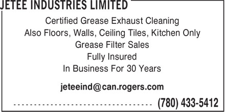 Jetee Industries Limited (780-433-5412) - Display Ad - GREASE FILTER SALES - GREASE EXHAUST CLEANING - KITCHEN - CEILING TILES - WALLS - FLOORS