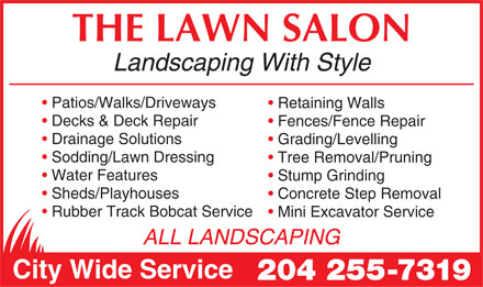 Lawn Salon The (204-255-7319) - Annonce illustrée