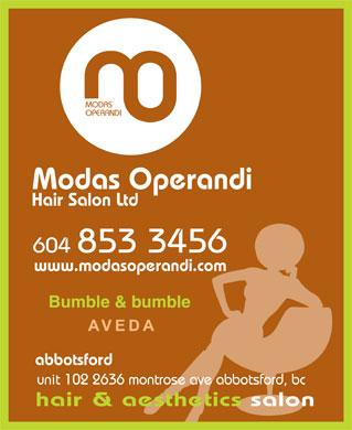 Modas Operandi Hair Salon Ltd (604-557-7589) - Display Ad