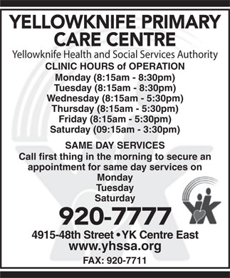 Yellowknife Primary Care Centre (867-920-7777) - Display Ad