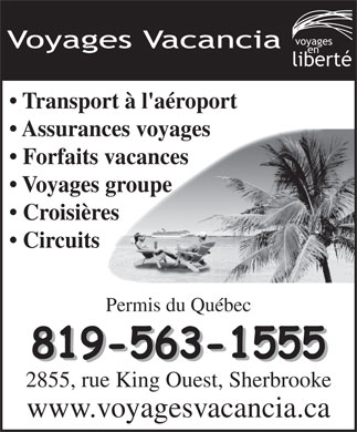 Voyages Vacancia (819-563-1555) - Display Ad