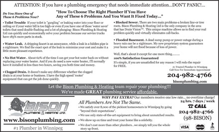 Bison Plumbing & Heating Ltd (204-943-2856) - Annonce illustrée - CALL  CALL