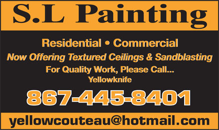 S.L. Painting (867-445-8401) - Display Ad