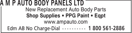 AMP Autobody Panels Ltd (1-800-561-2886) - Display Ad - New Replacement Auto Body Parts Shop Supplies &bull; PPG Paint &bull; Eqpt www.ampauto.com