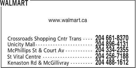Walmart (204-661-8370) - Display Ad - www.walmart.ca
