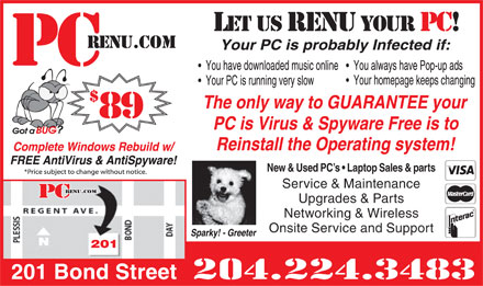 PCrenu.com (204-224-3483) - Annonce illustrée - New & Used PC s   Laptop Sales & parts Service & Maintenance Upgrades & Parts Networking & Wireless Onsite Service and Support 201 Bond Street