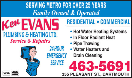 Evans Ken Plumbing & Heating Ltd (902-463-5691) - Display Ad