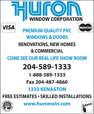 Huron Window Corporation (204-589-1333) - Annonce illustrée