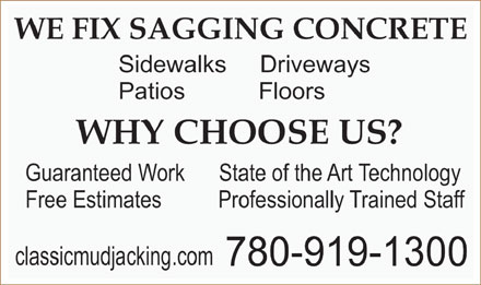 Classic Concrete and Mudjacking (780-919-1300) - Display Ad