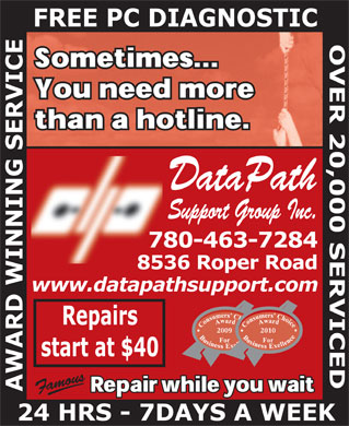 Datapath Support Group (780-463-7284) - Annonce illustrée - DataPath Support Group Inc.  DataPath Support Group Inc.