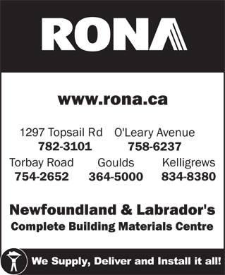 Rona (709-782-3101) - Display Ad